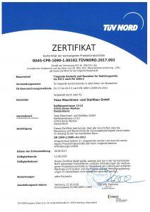 Zertifikat TÜV-Schweissnachweis bis 2019
