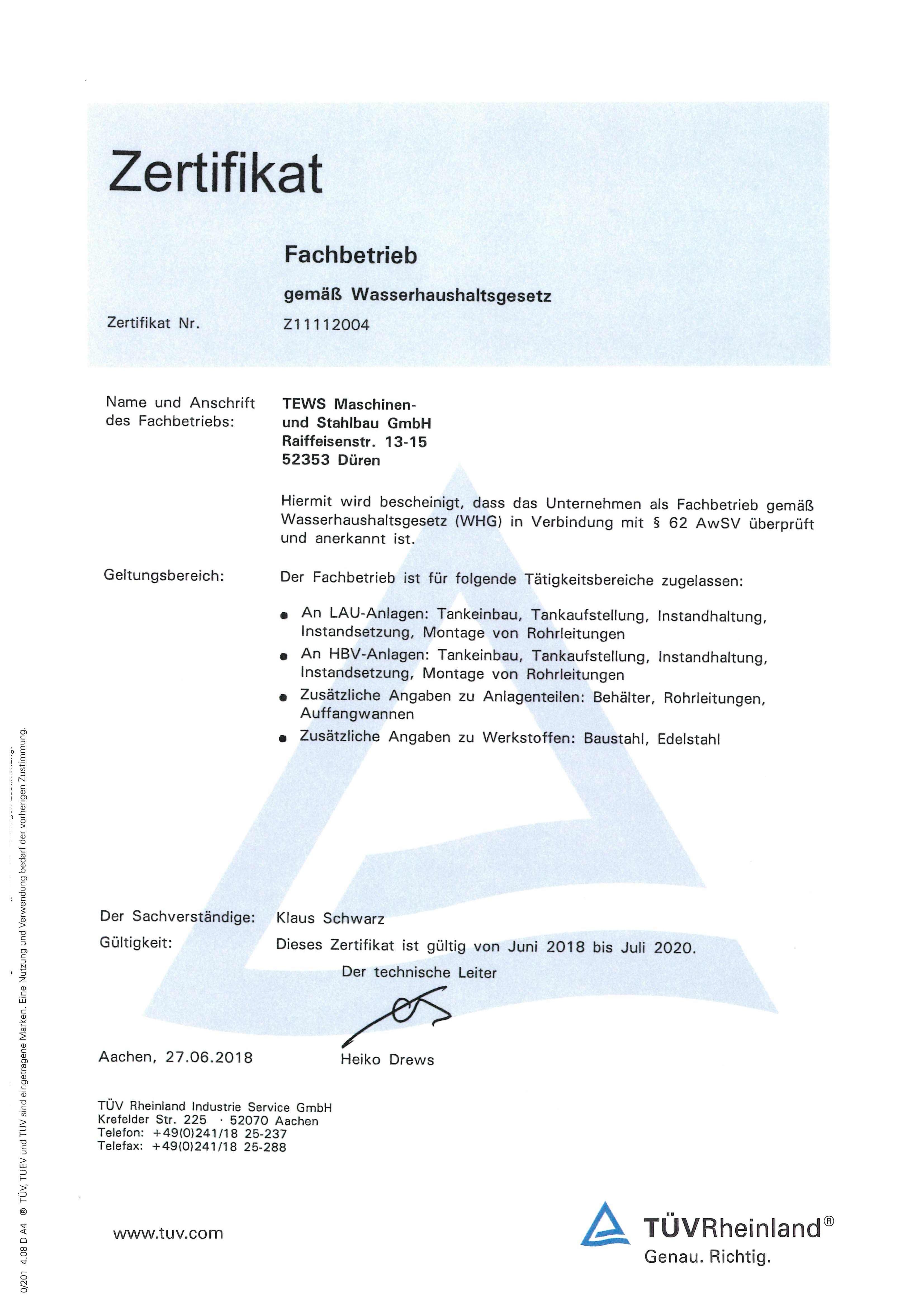 Zertifikat WHG bis 2020
