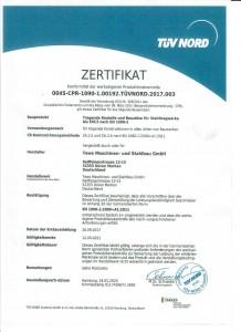 Zertifikat TÜV-Schweissnachweis bis 2020